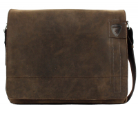 "Strellson ""Richmond"" Messenger groß echt Leder dark brown"