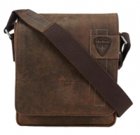 "Strellson ""Richmond"" Messenger klein echt Leder dark brown"