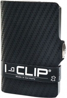 I-CLIP 'Carbon-Optik' echt Rindleder metallic grey schwarz