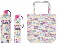 "Esprit ""Super Mini with shopper"" Faltschirm letter dance white"