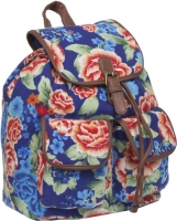 "New-Rebels Rucksack ""Moonshine range"" canvas flower blue red"