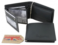 The British Brand Scheintasche klein Querformat echt Leder black