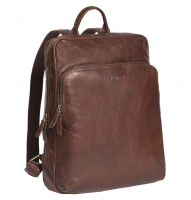"Justified Bags ""Everest"" Laptoprucksack echt Leder brown"